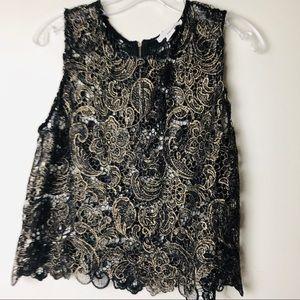 Sans Souci gold & black lace top back zipper SZ L